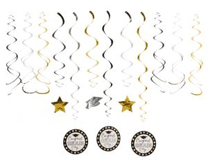 Graduation Hanging Swirl Decorations, 12-Count
