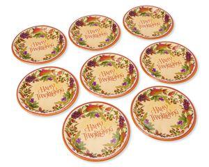 Thanksgiving Medley Paper Dessert Plates, 8-Count