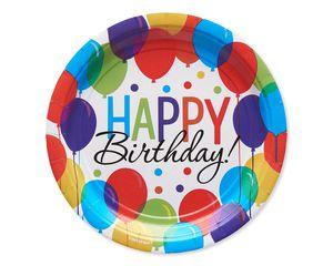 Happy Birthday Balloon Paper Dessert Plates, 60-Count
