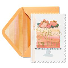 Ombre Floral Cake Birthday Greeting Card