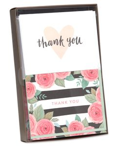 Pink, Black and White Floral and Hearts Thank-You Cards and White and Green Envelopes, 50- Count