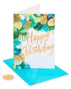 Greenery Balloons Birthday Greeting Card