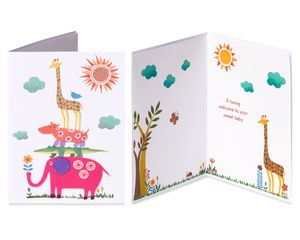 Animals Baby Shower Greeting Card Bundle, 2-Count