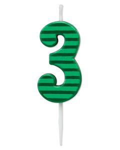 Green Stripes Number 3 Birthday Candle, 1-Count