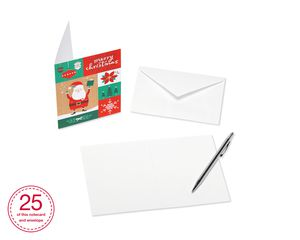 Patchwork Santa Blank Christmas Note Cards and White Envelopes, 25-Count