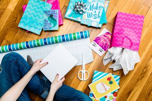 small aqua chevron gift bag lifestyle image
