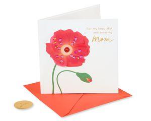 Red Poppy Birthday reeting Card for Mom