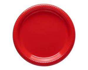 bright red plastic dessert plates 20 ct