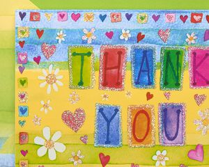Glitter Hearts Thank You Boxed Blank Note Cards, 14-Count