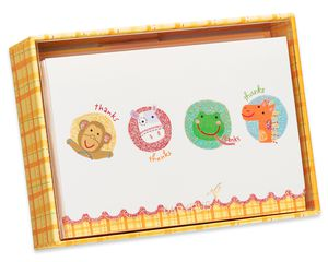 Animal Thank You Boxed Blank Note Cards with Glitter, 14-Count