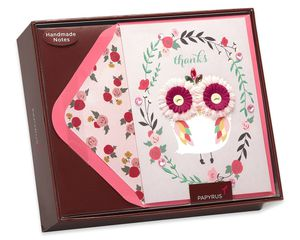 Lovely Owl Handmade Thank You Boxed Blank Note Cards, 8-Count