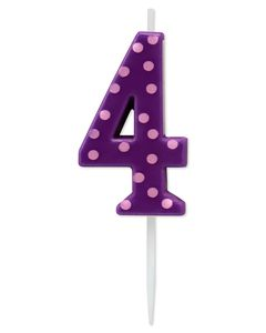 Purple Polka Dots Number 4 Birthday Candle, 1-Count