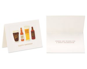 Hawaiian Shirt and Craft Beer Birthday Greeting Card Bundle for Him, 2-Count