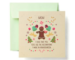 Gingerbread Greeting Card for Mom - Christmas, Happy Holidays