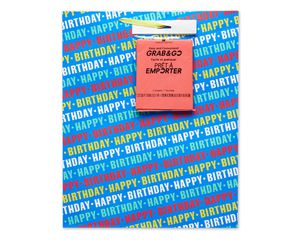large happy birthday on blue grab-&-go gift bag