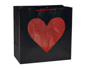 Extra-Large Red Glitter Heart Gift Bag