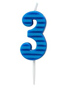 Blue Stripes Number 3 Birthday Candle, 1-Count