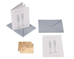 Champagne Flutes Boxed Cards and Envelopes, 8-Count