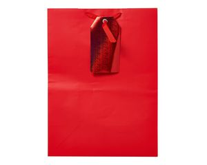 small red with gift tag gift bag