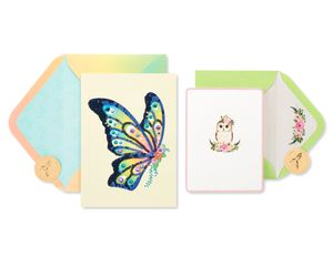 Butterfly and Owl Blank Greeting Card Bundle,  2-Count