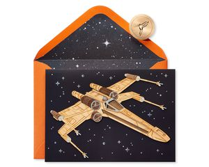 Wood X Wing Fighter Star Wars Birthday Greeting Card