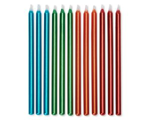 Birthday Candles Metallic Blue, Green, Orange and Red, 12-Count