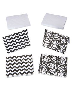 Black and White Chevron and Damask Note Cards and White Envelopes, 50-Count