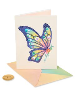Sequin Butterfly Blank Greeting Card