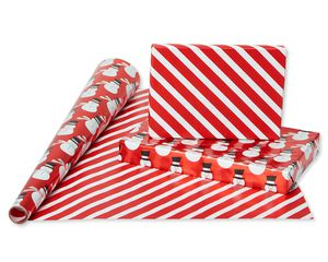 Christmas Foil Reversible Wrapping Paper, Red, Black, and Silver, Candy Cane Stripe, Snowmen, Ho-Ho-Ho, Santa Belt, 4-Roll, 30