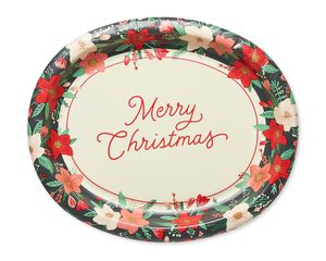 Winter Floral Paper Dinner Plates, 8-Count