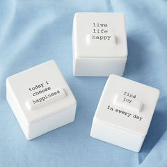 Mud Pie Choose Happiness Ceramic Trinket Box