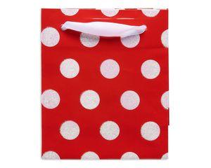 mini white polka dots christmas gift bag