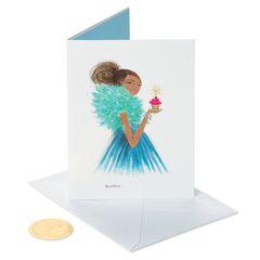Girl Holding Cupcake Birthday Greeting Card