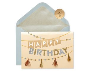 Metallic Banner Birthday Greeting Card