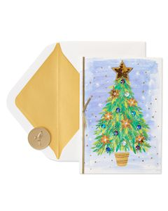 Brushstroke Christmas Tree Christmas Greeting Card