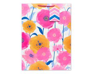 jumbo pink and orange flowers gift bag