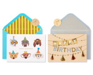 Dogs and Banner Birthday Greeting Card Bundle, 2-Count