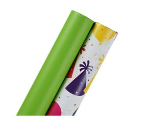 Birthday Wrapping Paper, Lime Green and Party Confetti, 2-Roll