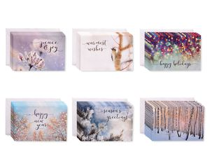 Winter Scenes Season's Greetings Greeting Card Bundle with White Envelopes, 48-Count