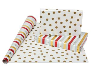 Christmas Reversible Wrapping Paper, Red and Gold, Polka Dot, Stripe, Zigzag and Herringbone, 4-Rolls, 120 Total Sq. Ft.