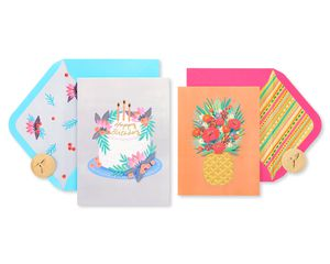 Cake and Pineapple Birthday Greeting Card Bundle, 2-Count