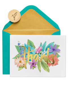 Botanical Floral Boxed Thank You Cards and Envelopes, 8-Count
