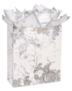 Vintage Lace Jumbo Wedding Gift Bag with Silver Glitter Edge Tissue Paper, 1 Gift Bag and 4 Sheets of Tissue Paper