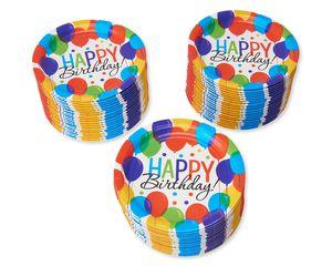 Happy Birthday Balloon Paper Dinner Plates, 60-Count