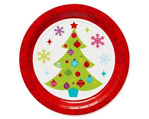 Playful Trees Christmas Paper Dinner Plates, 8-Count