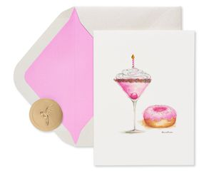 Martini and Donut Birthday Greeting Card