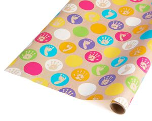 colorful hands and feet baby wrapping paper