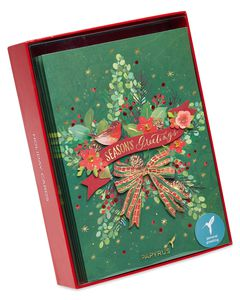 Traditional Wreath Holiday Boxed Cards, 8-Count