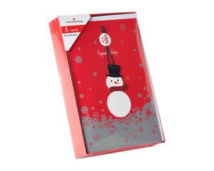 Snowman Ornament Christmas Boxed Cards and White Envelopes, 8-Count