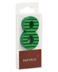 Green Stripes Number 8 Birthday Candle, 1-Count